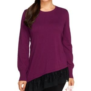 LOGO Lori Goldstein purple lace trim sweater L